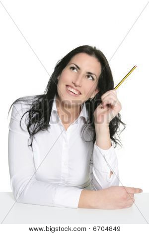 Brunette Woman Thinking With Pencil
