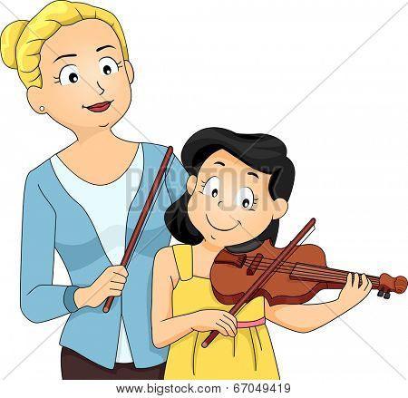 Illustration of a Woman Teaching a Young Girl How to Play the Violin