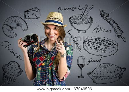 food photographer  - Nice female tourist with draw different types of food in background