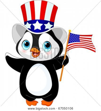 Cute patriotic penguin with US flag
