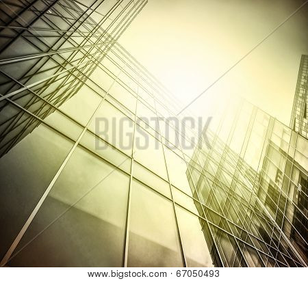 Panoramic and perspective wide angle view to steel light black background of glass high rise building skyscraper commercial modern city of future Business concept of successful industrial architecture