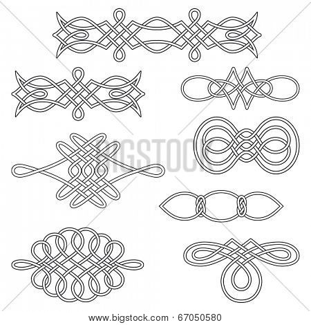 Set of nine interlaced decorations