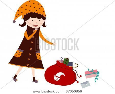 The view of girl with bundle of presents