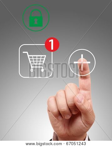 Hand pushing virtual symbol Add or Buy, on line shopping.