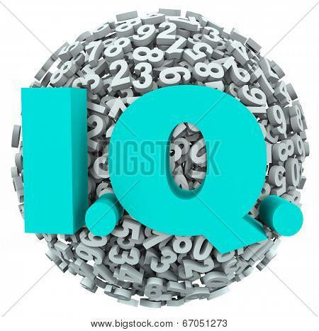 IQ letters on a ball or sphere of numbers intelligence quotient test, exam or quiz result