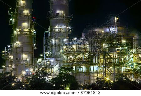 Close Up View Of Refinery Oil Plant In Heavy Industry Estate Use For Petrochemical Industrial Busine