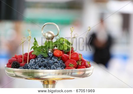 Bowl of fresh fruits. Shallow DOF