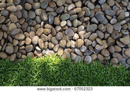 Small Stones And Fresh Green Grass In Garden