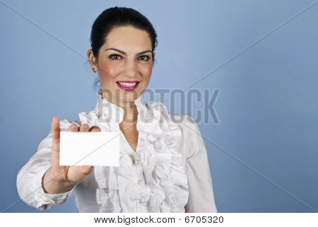 Woman Hold A Business Card