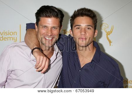 LOS ANGELES - JUN 19:  Greg Vaughn, Casey Moss at the ATAS Daytime Emmy Nominees Reception at the London Hotel on June 19, 2014 in West Hollywood, CA