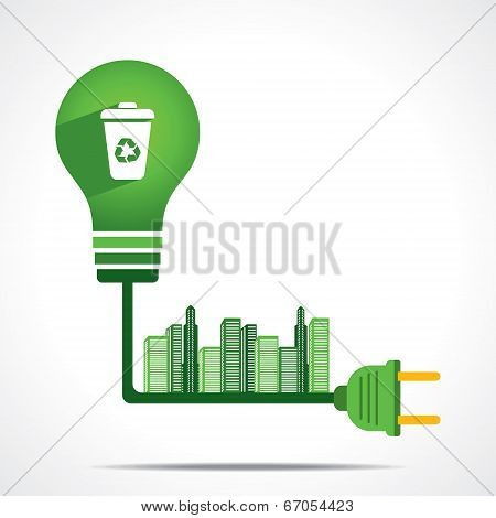 creative green energy generate from wastage or garbage give green city concept