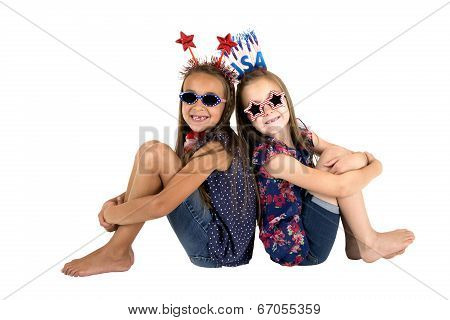 Darling Usa Patriotic Girls Sitting Missing Front Teeth Smiling