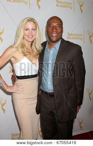LOS ANGELES - JUN 19:  Jennifer Lucas, Byron Allen at the ATAS Daytime Emmy Nominees Reception at the London Hotel on June 19, 2014 in West Hollywood, CA