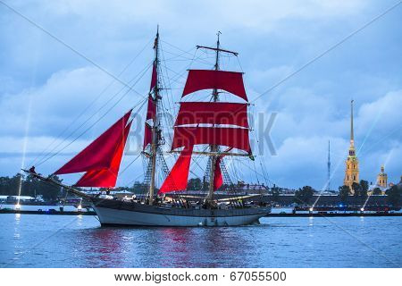 ST.PETERSBURG, RUSSIA - JUN 20, 2014: Celebration Scarlet Sails show during the White Nights Festival. In 2014, the festival Scarlet Sails celebrates its tenth anniversary.