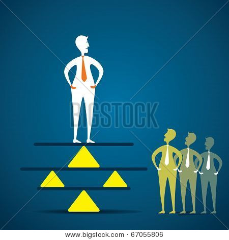 creative concept of balance , men balancing in business concept