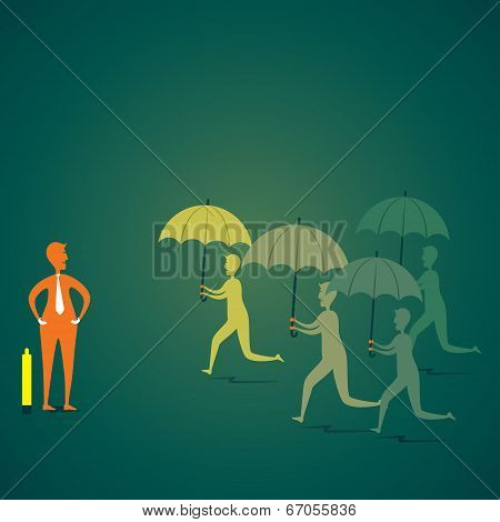 company agent run with umbrella to secure the customer or client concept