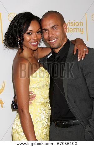 LOS ANGELES - JUN 19:  Mishael Morgan, Bryton James at the ATAS Daytime Emmy Nominees Reception at the London Hotel on June 19, 2014 in West Hollywood, CA