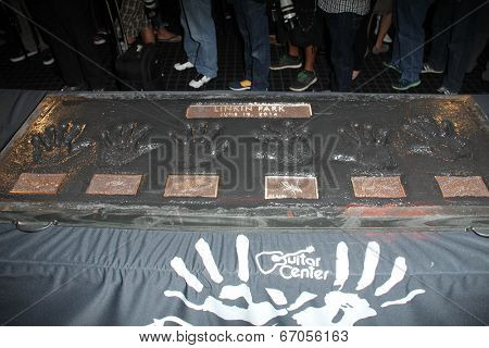 LOS ANGELES - JUN 18:  Linkin Park handprints at the Linkin Park Rockwalk Inducting Ceremony at the Guitar Center on June 18, 2014 in Los Angeles, CA