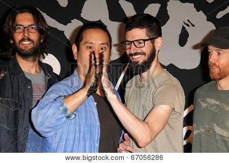 LOS ANGELES - JUN 18:  Rob Bourdon, Joe Hahn, Brad Delson, Dave Farrell at the Linkin Park Rockwalk Inducting Ceremony at the Guitar Center on June 18, 2014 in Los Angeles, CA