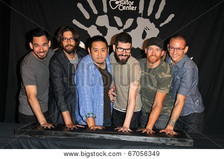 LOS ANGELES - JUN 18:  Linkin Park at the Linkin Park Rockwalk Inducting Ceremony at the Guitar Center on June 18, 2014 in Los Angeles, CA