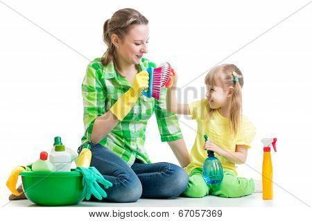 Mother And Kid Clean Room Having Fun