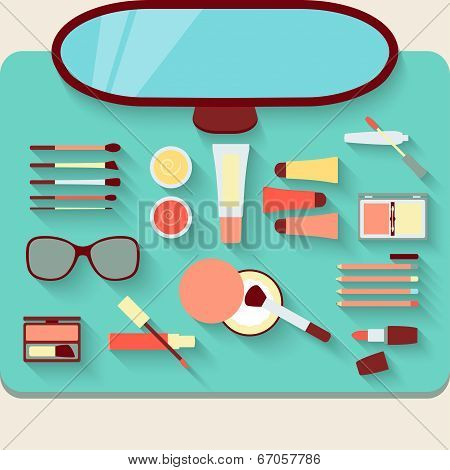 Dressing Table With Cosmetics. Top View