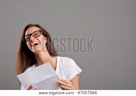 Girl Laughing About Something She Read