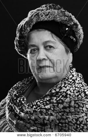 Portrait Of Senior Woman With Shawl