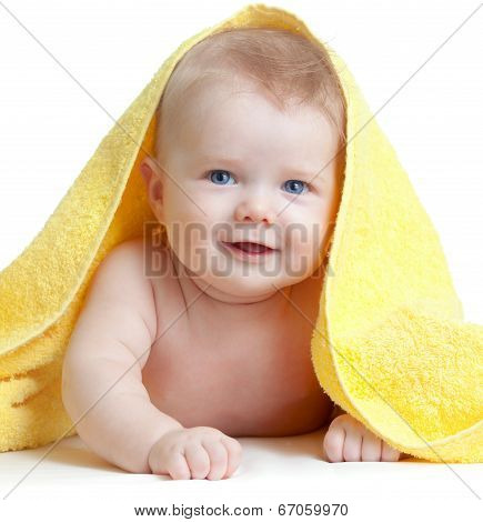 Adorable Happy Blue-eyed Baby In Colorful Towel