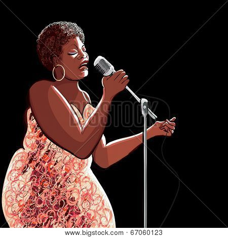 Vector illustration of singer on black background