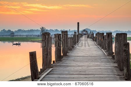 Ubein Bridge at sunrise Mandalay Myanmar