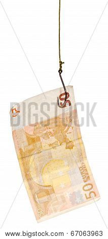 Fishing With 50 Euro Banknote Lure On Fishhook