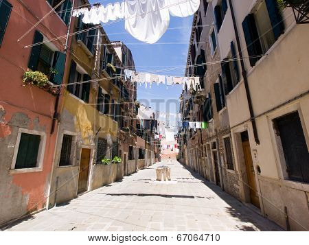 Street With Cloths Drying, Venice