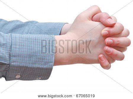 Side View Of Clenched Hands - Hand Gesture