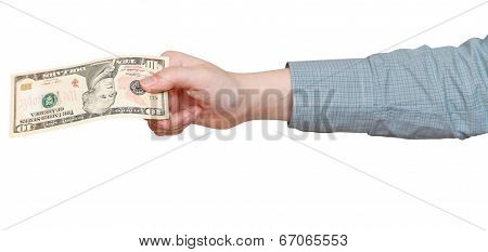 Ten Dollars Banknote In Hand Isolated On White