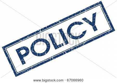 Policy Blue Square Grungy Stamp Isolated On White Background
