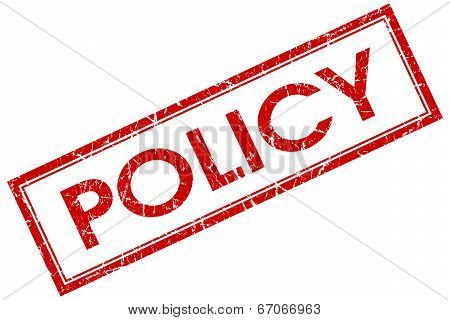 Policy Red Square Grungy Stamp Isolated On White Background