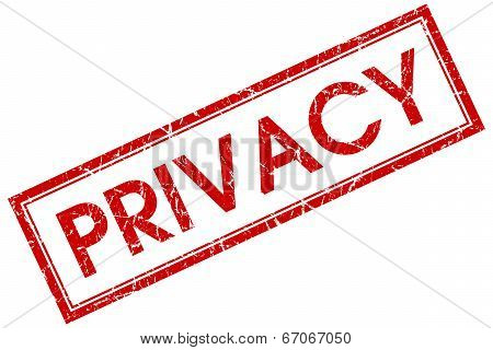 Privacy Red Square Grungy Stamp Isolated On White Background