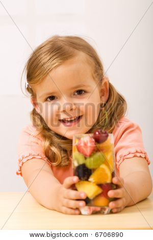 Happy Little Girl With Fruity Refreshment