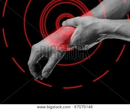 Pain In Male Wrist, Pain Area Of Red Color