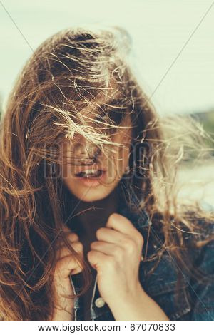 Hipster Girl With Windy Hair