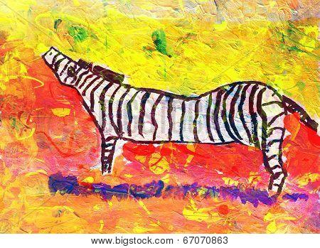 Children's Drawing Of Zebra Outdoors