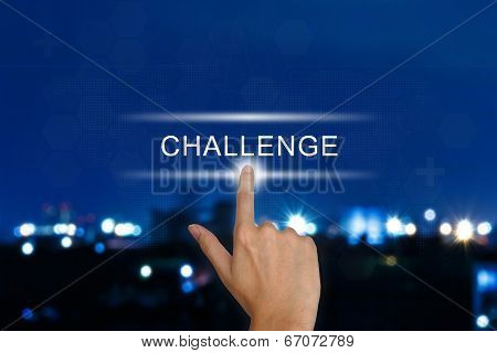 Hand Pushing Challenge Button On Touch Screen
