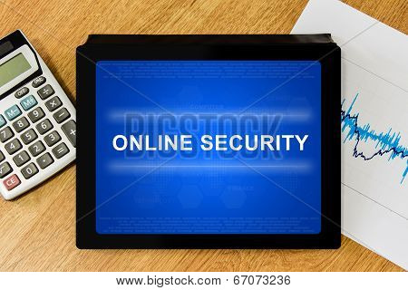 Online Security Word On Digital Tablet