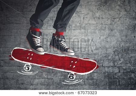 Skateboarder Jumping On Sketched Board