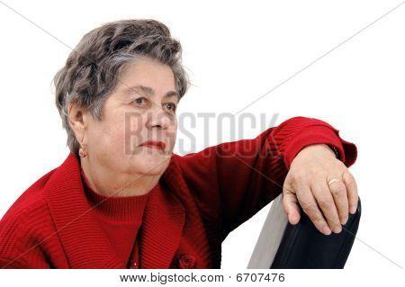 Portrait Of Senior Woman Isolated On White