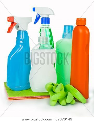 household chemical cleansers and soap in the soap dish on an isolated white background