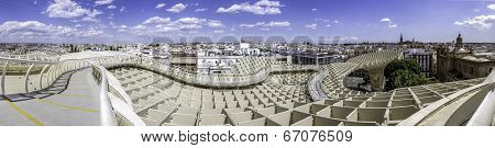 Panoramic View In The Top Of Metropol Parasol In Plaza De La Encarnacion On 31 Of May 2014 In Sevill