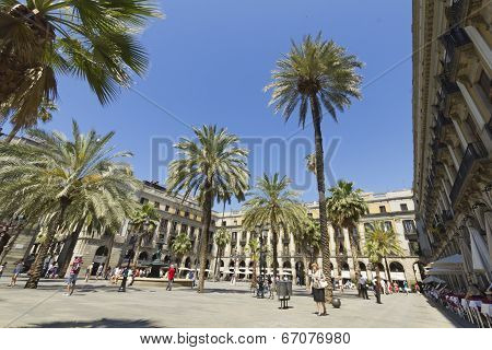 Tourist On Plaza Real In Barcelona, Spain