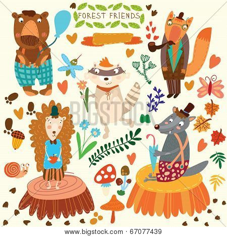 Vector Set Of Cute Woodland And Forest Animals. Bear, Hedgehog, Fox, Wolf, Raccoon,mosquito, Snail,